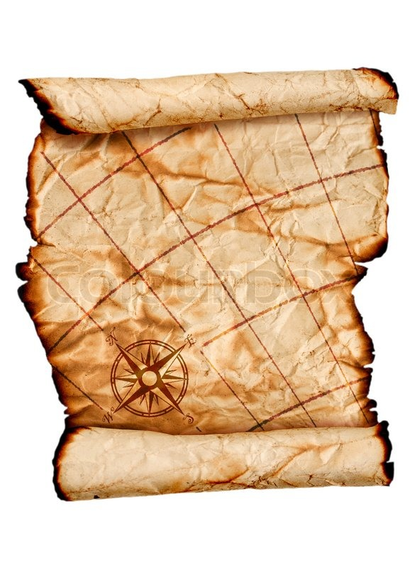 Ancient scroll map, isolated on a white background   Stock