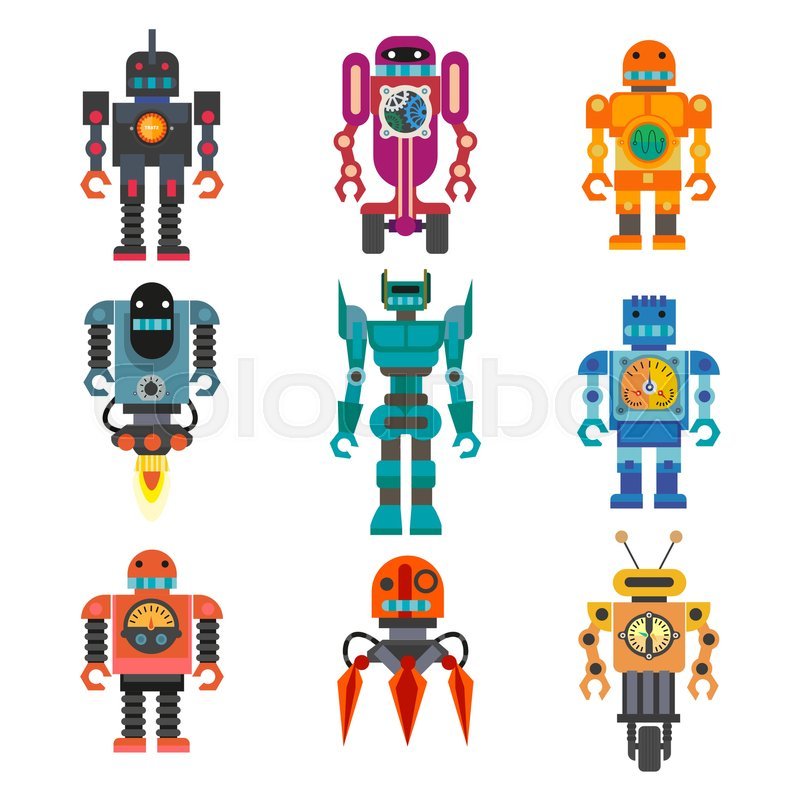robots and transformer androids retro stock vector