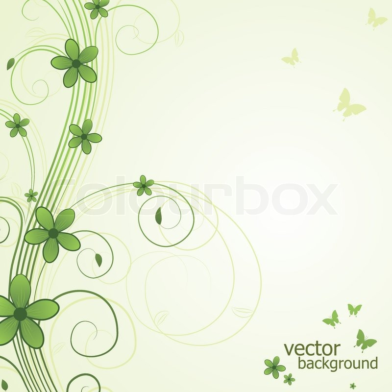 Abstract Floral Background With Butterfly And Flower Vector Illustration Vector 2485180 on Plant Coloring Pages
