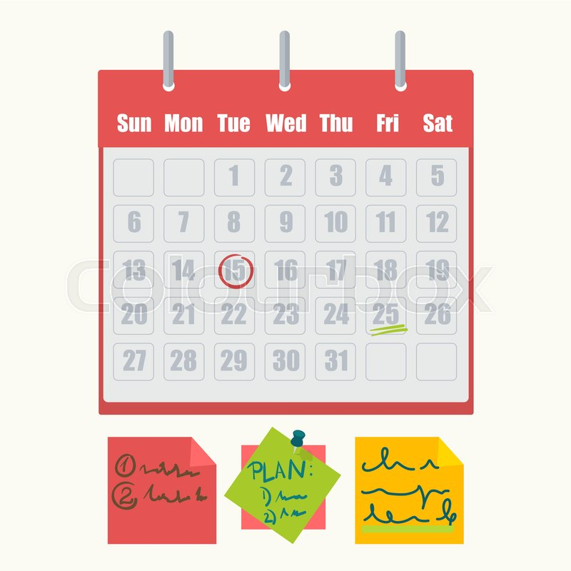 calendar with tasks and sticky notes with messages vector isolated