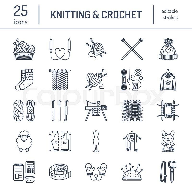 Knitting, Crochet, Hand Made Line Icons Set. Knitting Needle, Hook ... | 800x800