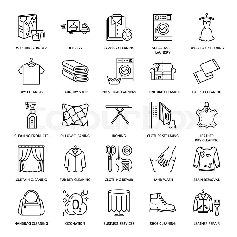 Clothes Wash Signs: Dry Cleaning, Laundry Line Icons. ...