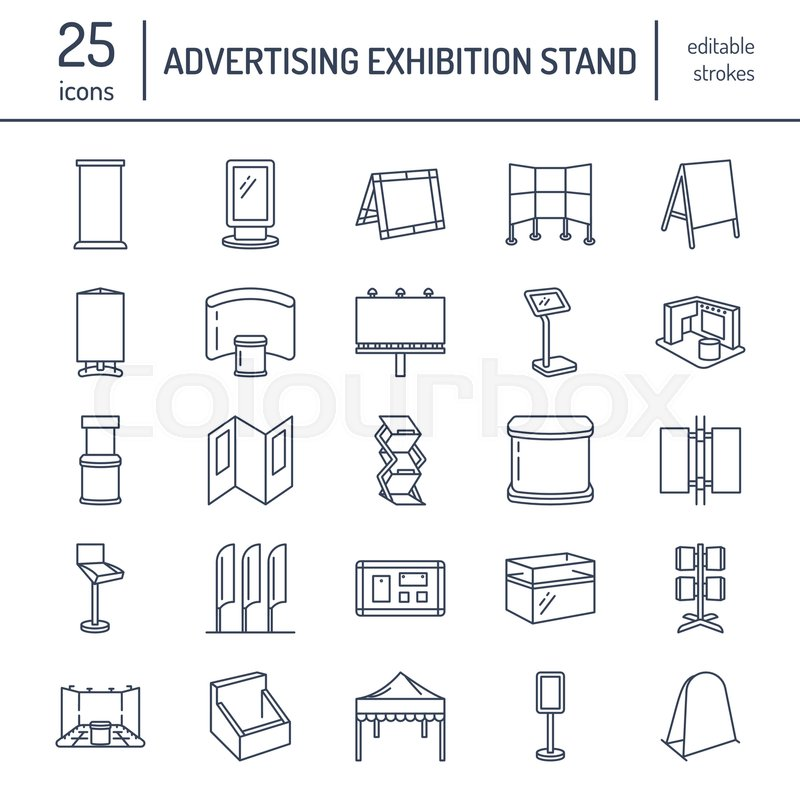 Exhibition Stand Elements : Advertising exhibition banner stands display line icons