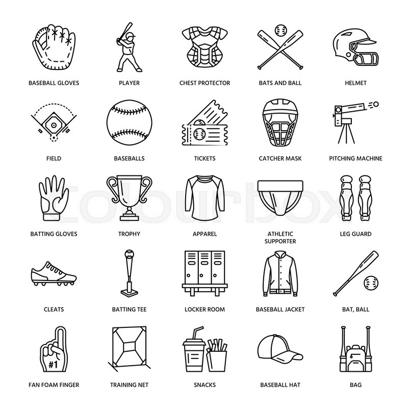 Baseball, softball sport game vector line icons. Ball, bat, field, helmet, pitching machine, catcher mask. Linear signs set, championship pictograms with editable stroke for event, equipment store, vector