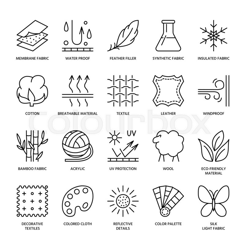 Vector Line Icons Of Fabric Feature Garments Property Symbols
