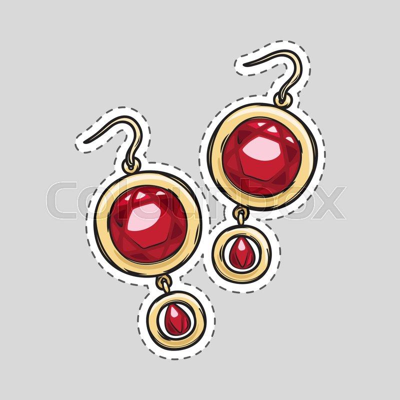 Red diamond brilliant earrings beautiful accessory patch. Cut it ...