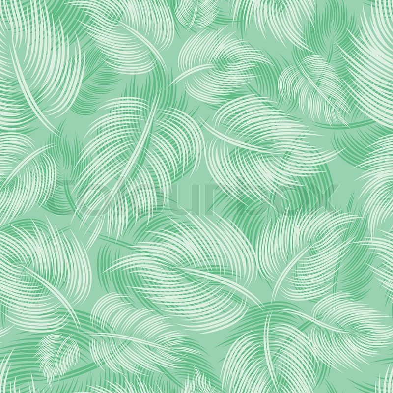 Seamless Spring Pattern With Green Light Leaf Leaves On Green Interesting Green Pattern Background