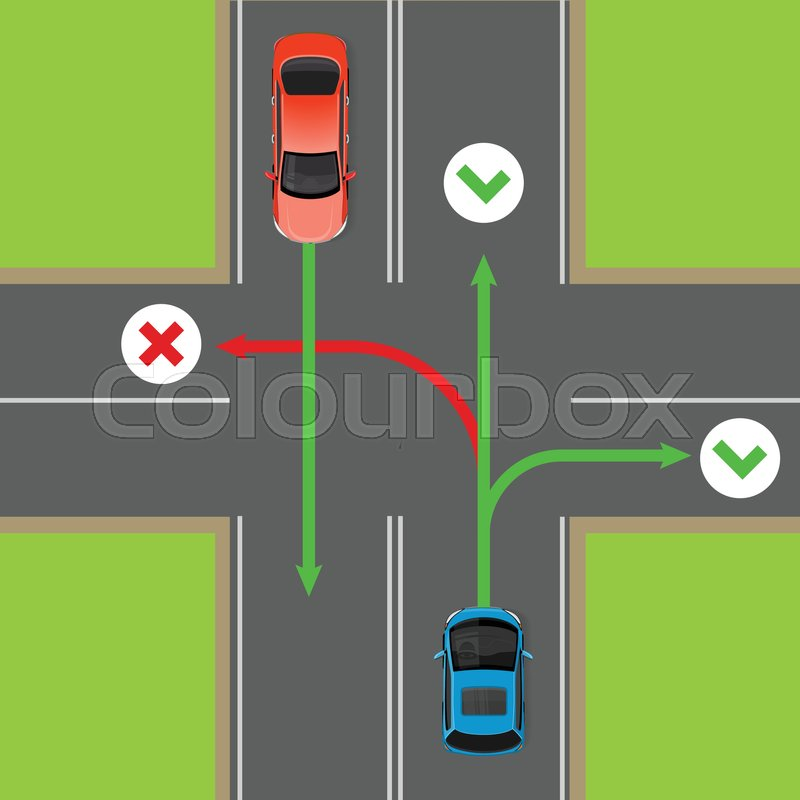 Turn rules on four-way intersection flat vector illustration. Road ...