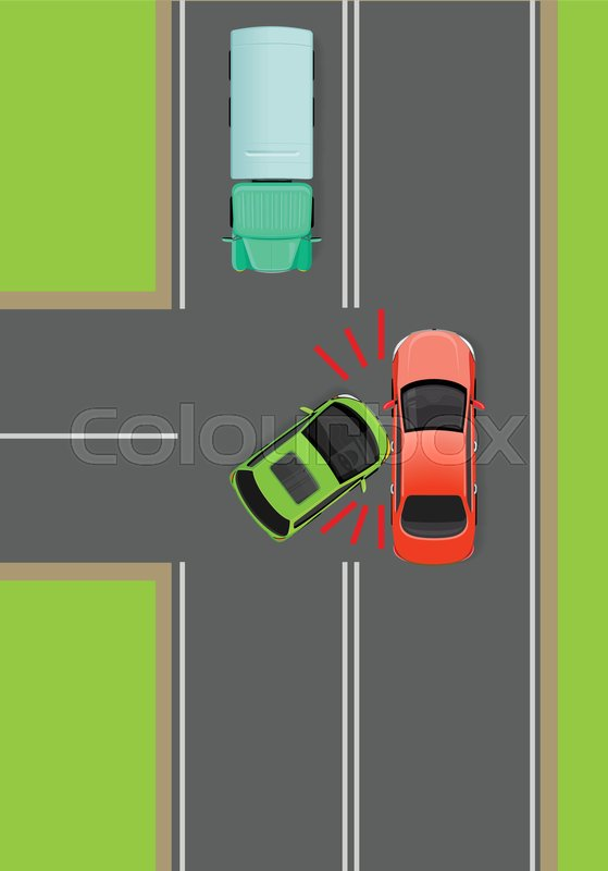 Clash of cars on T-Junction flat vector illustration. Road rules ...