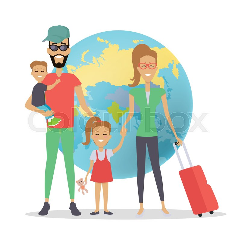 Happy Family Trip Traveling Concept Vacation Parents With Their Children Going For Summer Vacations People On Background Of Globe