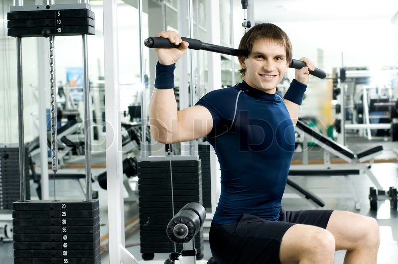 Sport-hall, look on camera and smile, stock photo