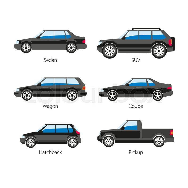 car body types vector flat icons of sedan and coupe wagon pickup or hatchback van models side. Black Bedroom Furniture Sets. Home Design Ideas