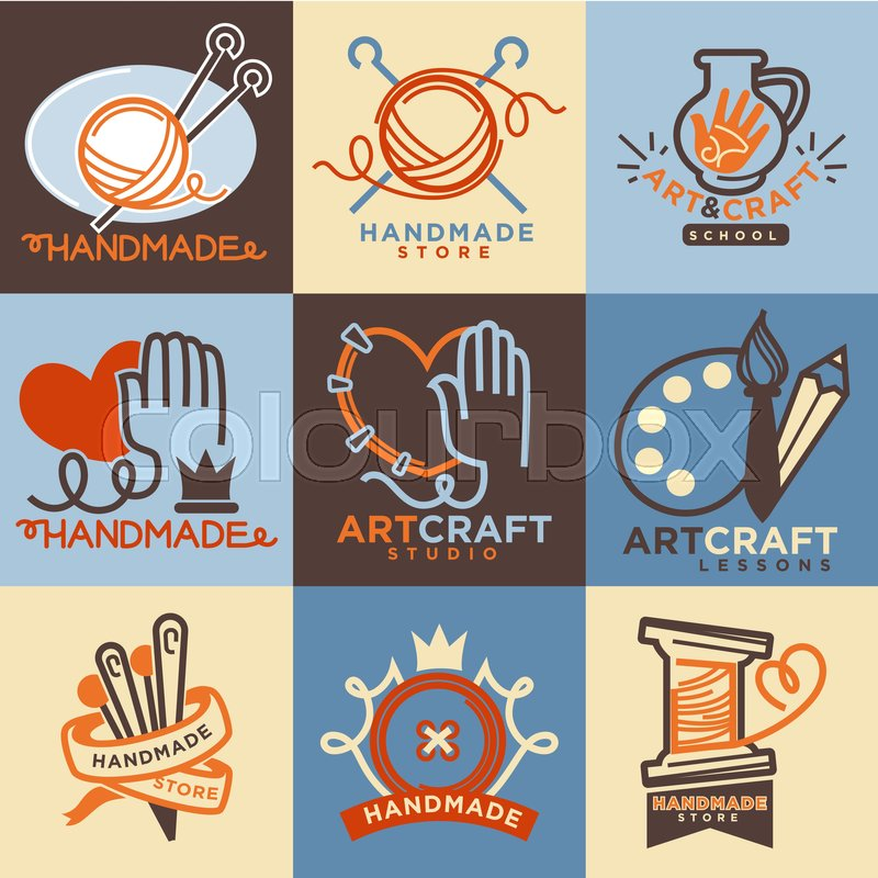 Art and handmade craft logo templates flat set vector for Arts and crafts logo