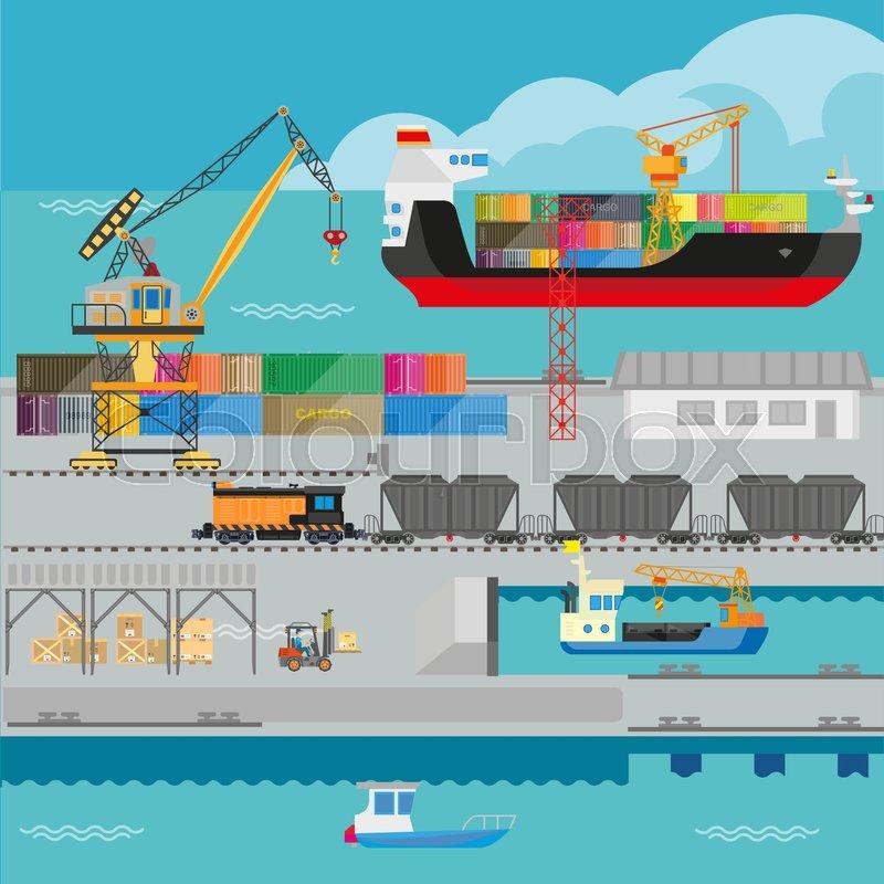 Logistics in port infographics ... | Stock Vector | Colourbox