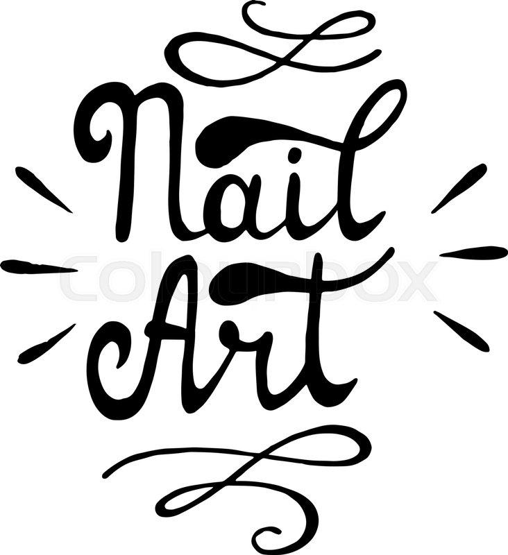 Nail Art Vector Illustration Lettering Nail Art Stock Vector