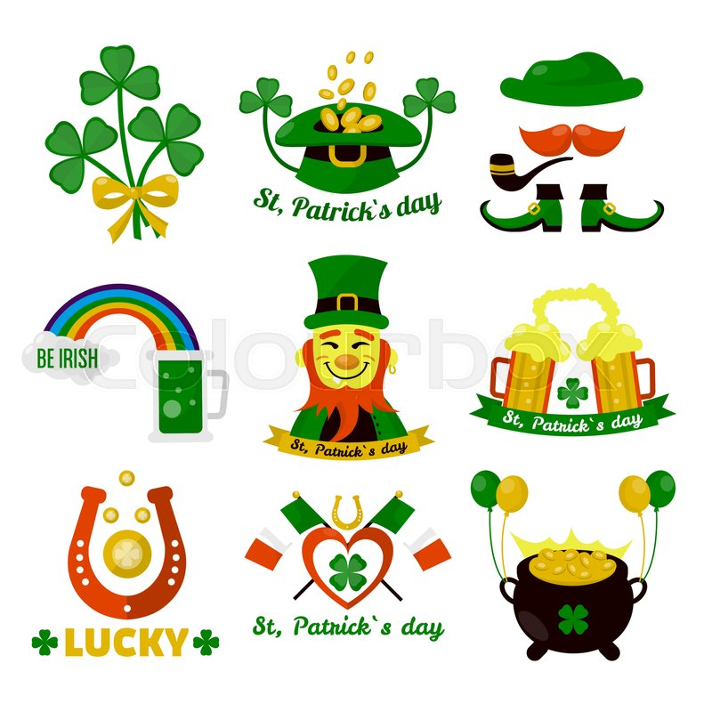 Symbols Of Ireland Flag And Horseshoe Luck Saint Patrick Day Irish