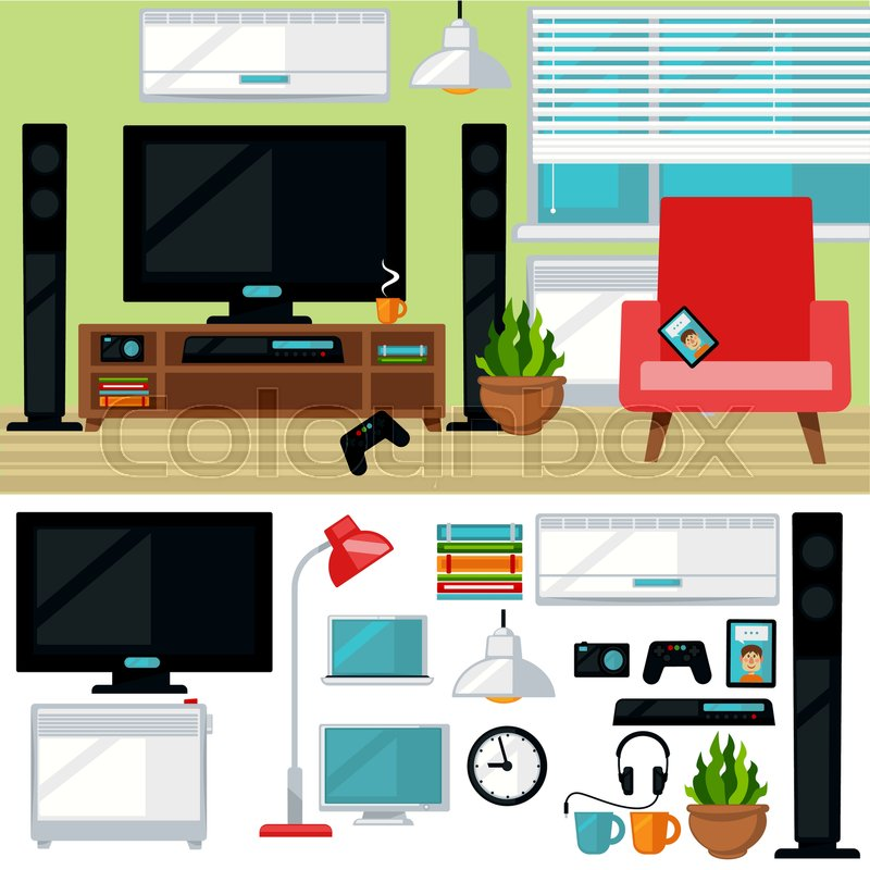 creative furniture icons set flat design. Concept Of Creative Living Room With Chair And Tv. Modern Home Interior  Furniture Things Items. Isolated Multimedia Icons Set. Flat Style Set Flat Design O