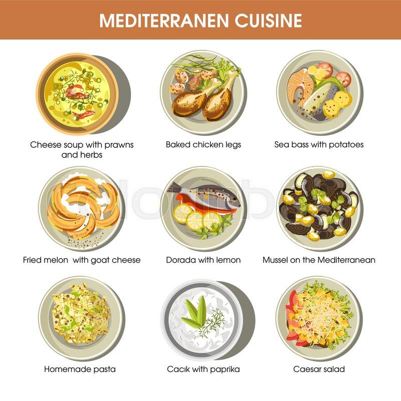 mediterranean food cuisine for restaurant menu