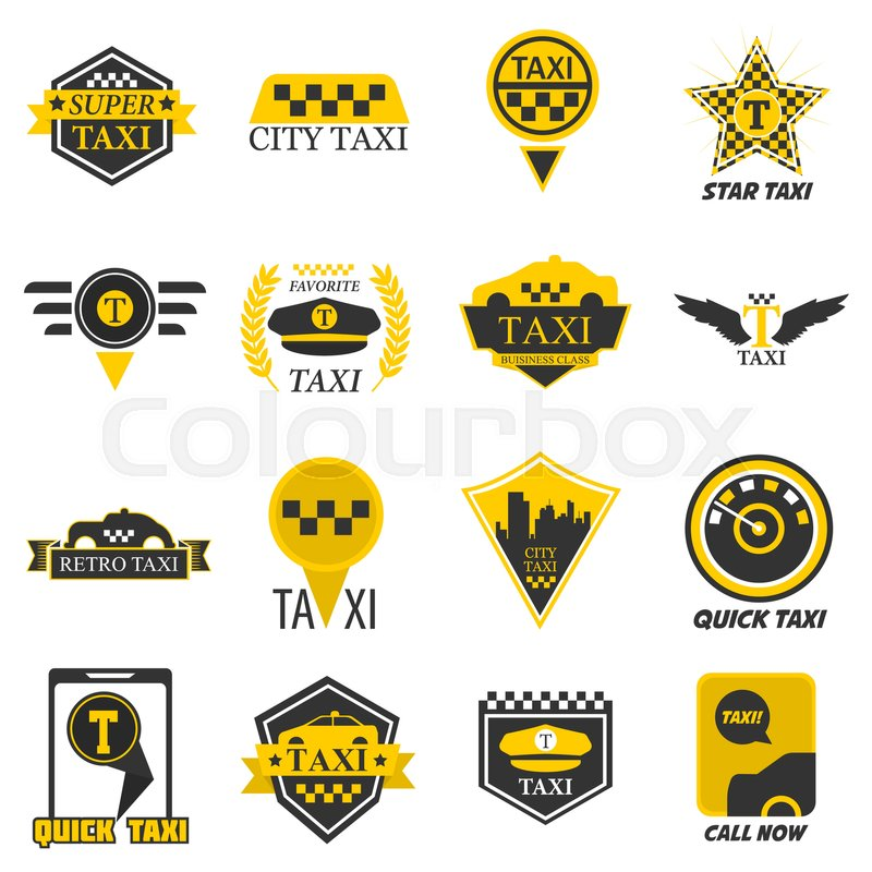 Taxi Logo Templates For Company Web Or Stock Vector Colourbox