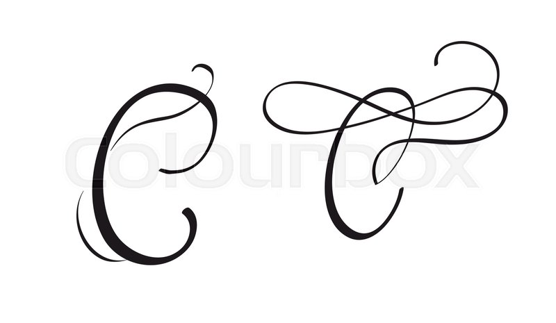 Art calligraphy letter C with flourish ...  a7ac080191