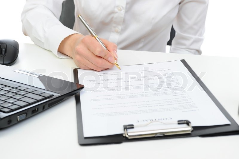 Signature of the contract Isolated on white background, stock photo