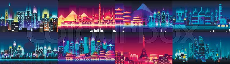 stock vector of vector horizontal illustration background city night neon style architecture buildings town country