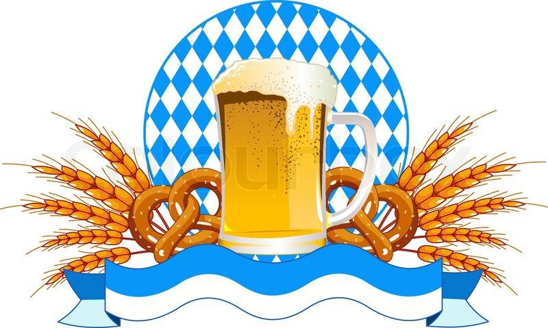 Round Oktoberfest Celebration Design mit Bier und Weizen Ohren   Vektorgrafik   Colourbox