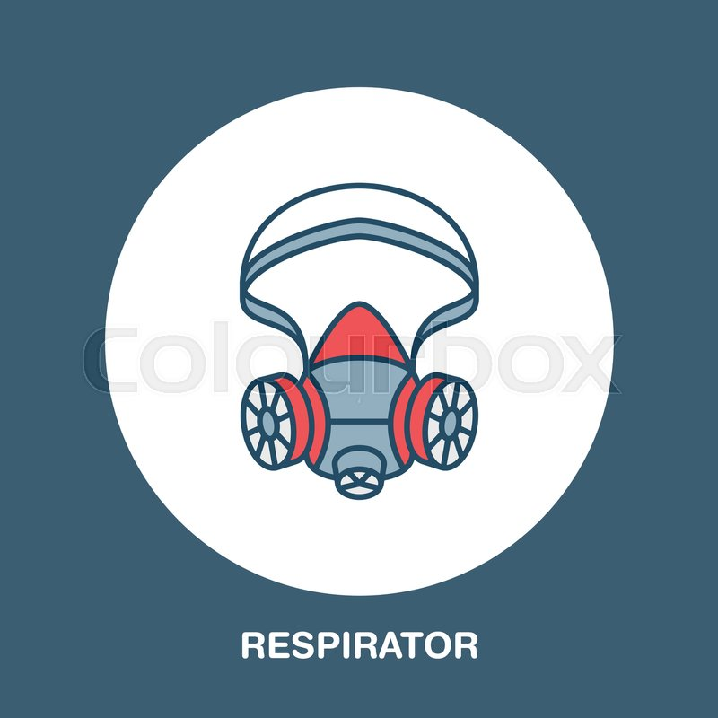 Gas Mask Respirator Flat Line Icon Vector Logo For Personal