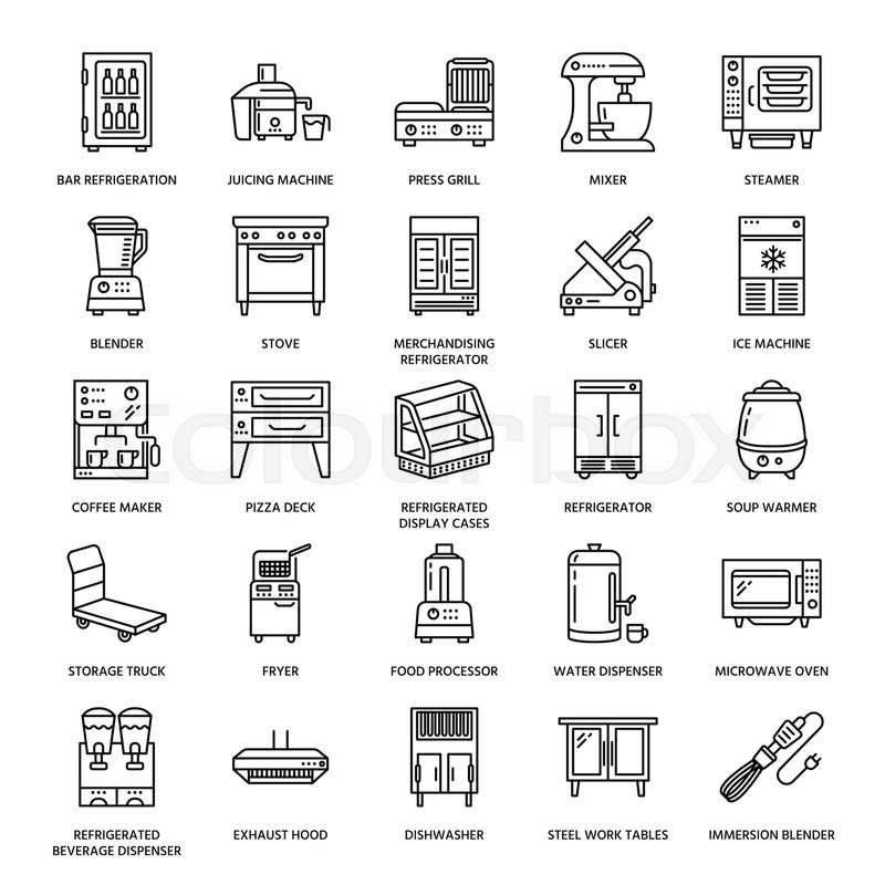 Restaurant Kitchen Refrigerator restaurant professional equipment line icons. kitchen tools, mixer