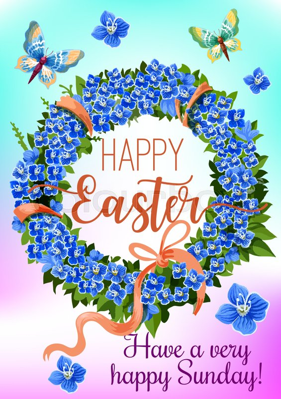 Easter wreath of spring flowers greeting card blue flowers of blue flowers of forget me not green leaves pink ribbon bow and flying butterflies cartoon poster for easter sunday celebration design stock vector m4hsunfo