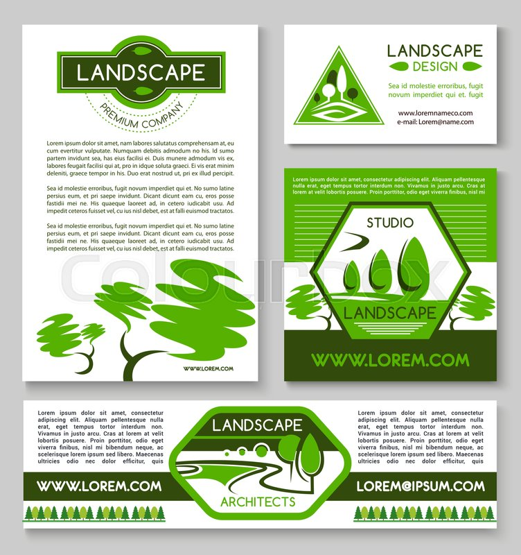 landscape design business banner template set landscape architect business card landscaping and gardening design studio flyer with garden and park - Garden Design Business Cards