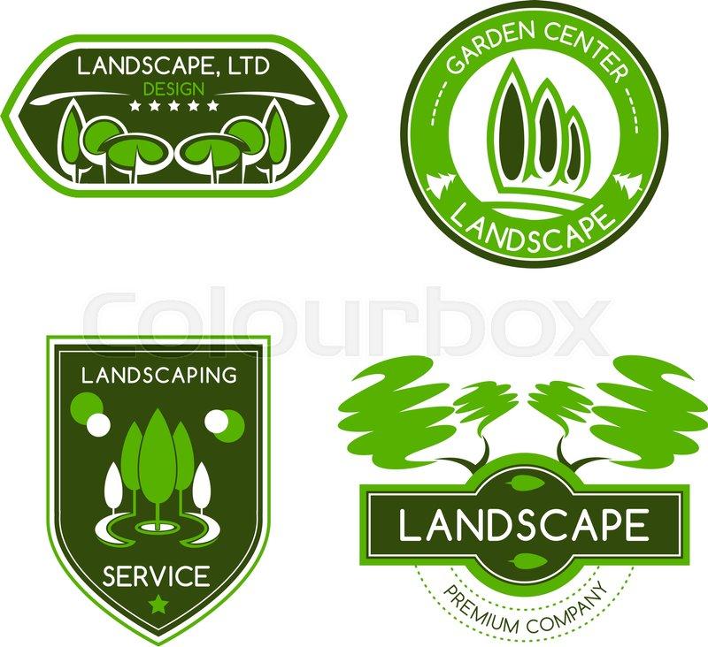 Landscape Design Label Set Landscaping And Gardening Services