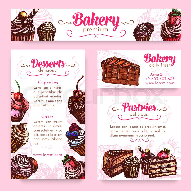 Bakery And Pastry Desserts Banner Stock Vector Colourbox