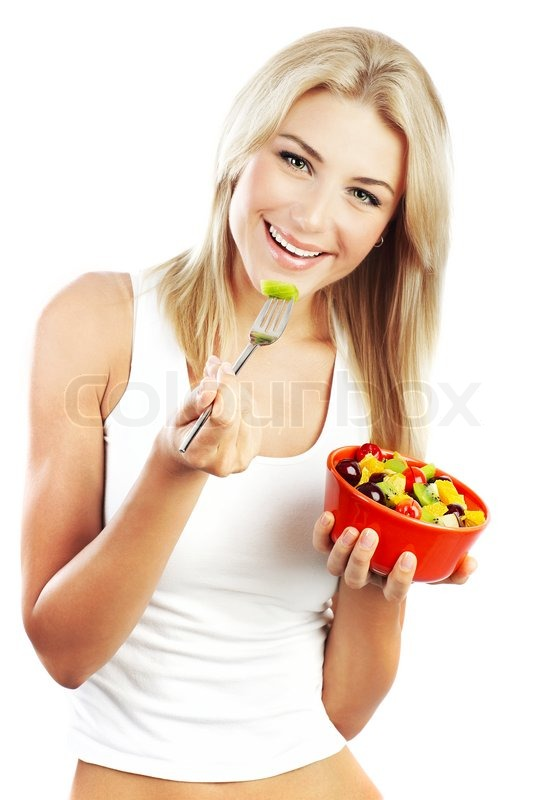 pretty girl eating fruits healthy fresh breakfast dieting and