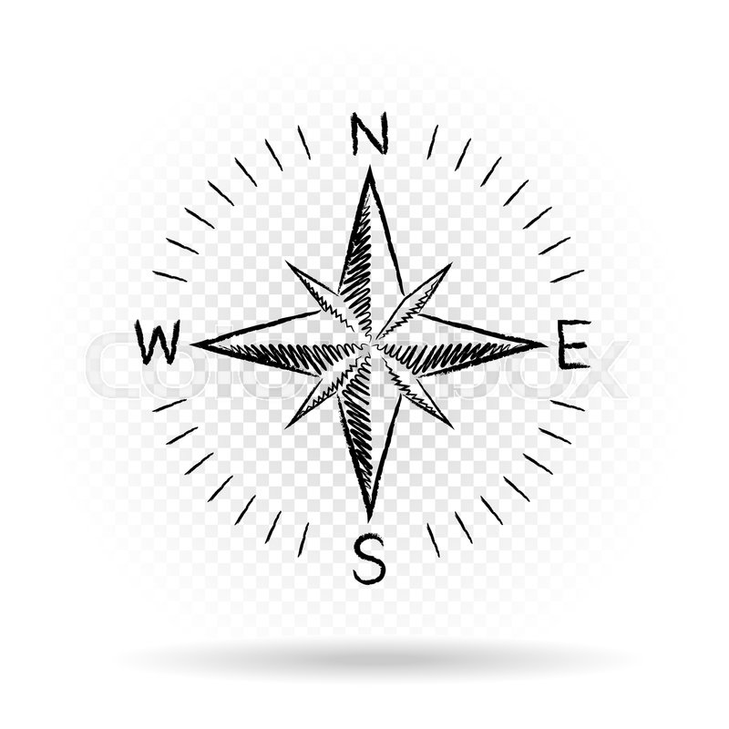 Drawing black color compass wind rose with shadow on white ...