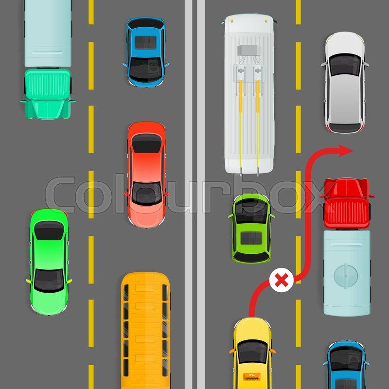 Overtaking in dense traffic flow flat vector illustration. Road rule ...