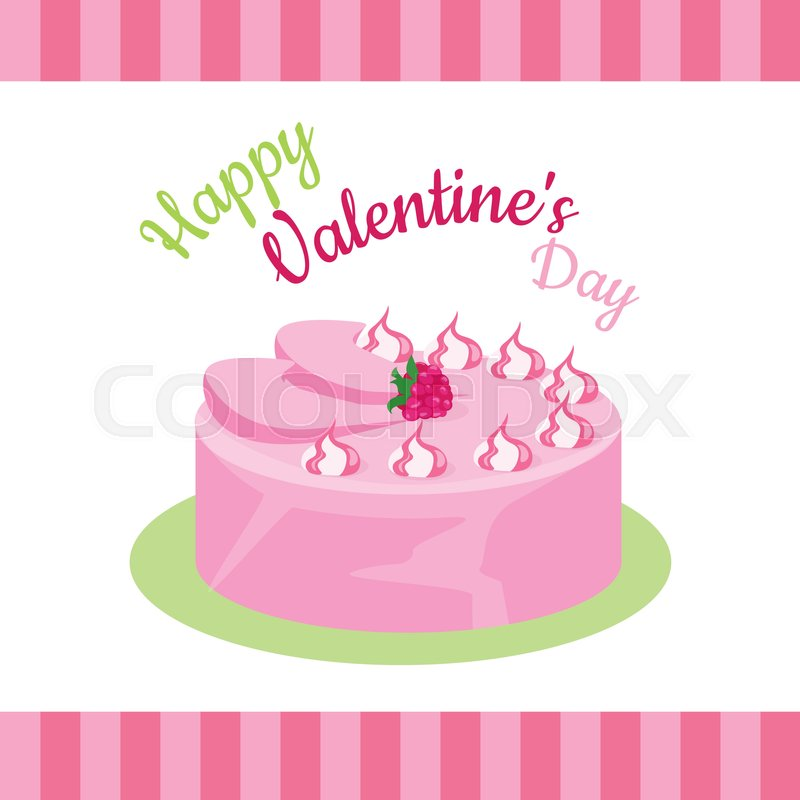 Happy Valentines Day Cake With Strawberries Isolated Cake With