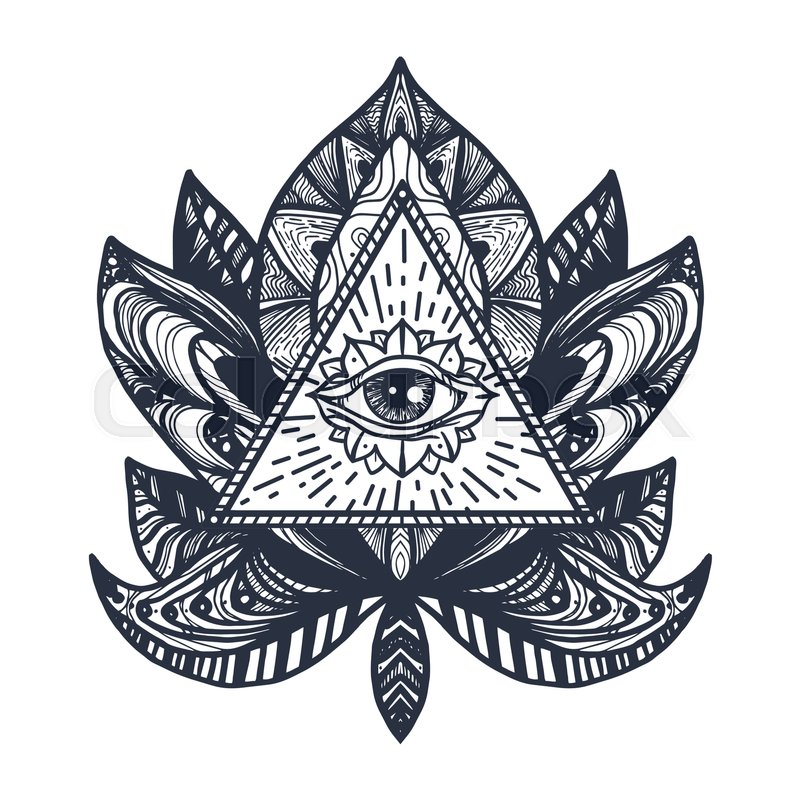 Vintage All Seeing Eye In Mandala Lotus Providence Magic Symbol For Print Tattoo Coloring Bookfabric T Shirt Cloth Boho Style