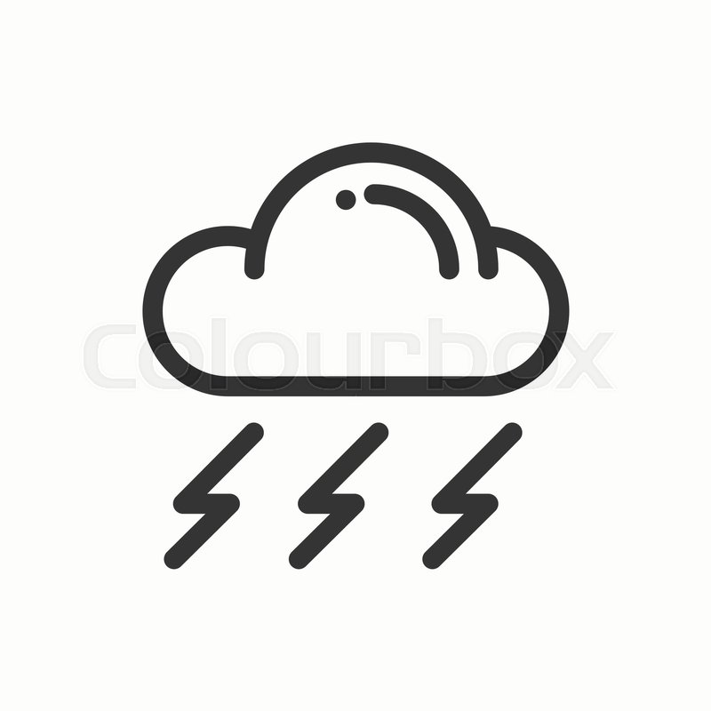 Cloud Sky Rain Storm Line Simple Icon Weather Symbols
