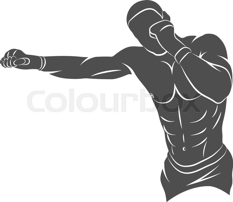 Silhouette Mixed Martial Arts Fighter Stock Vector Colourbox