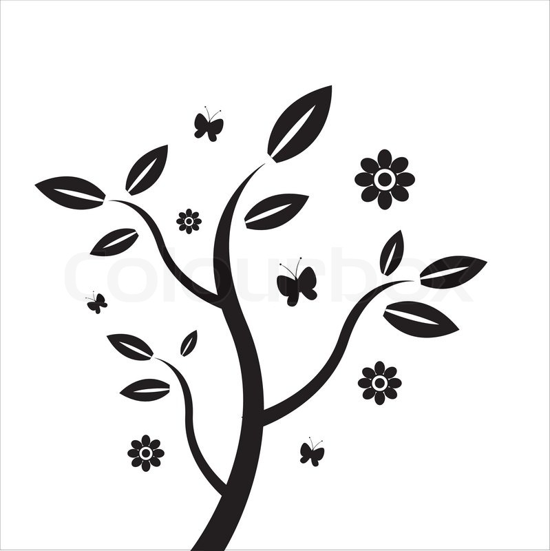 funny tree with flowers   stock vector   colourbox