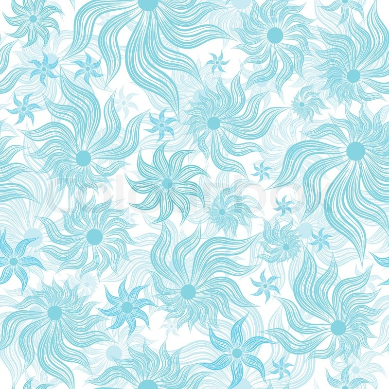 Abstract Art Blue Vector Flower Seamless Background Pattern Floral Vintage Illustration Cute Filigree Wallpaper With Flourishes
