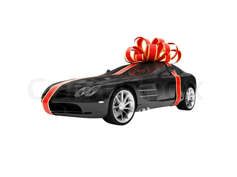 isoliert geschenk auto auf einem wei en hintergrund. Black Bedroom Furniture Sets. Home Design Ideas