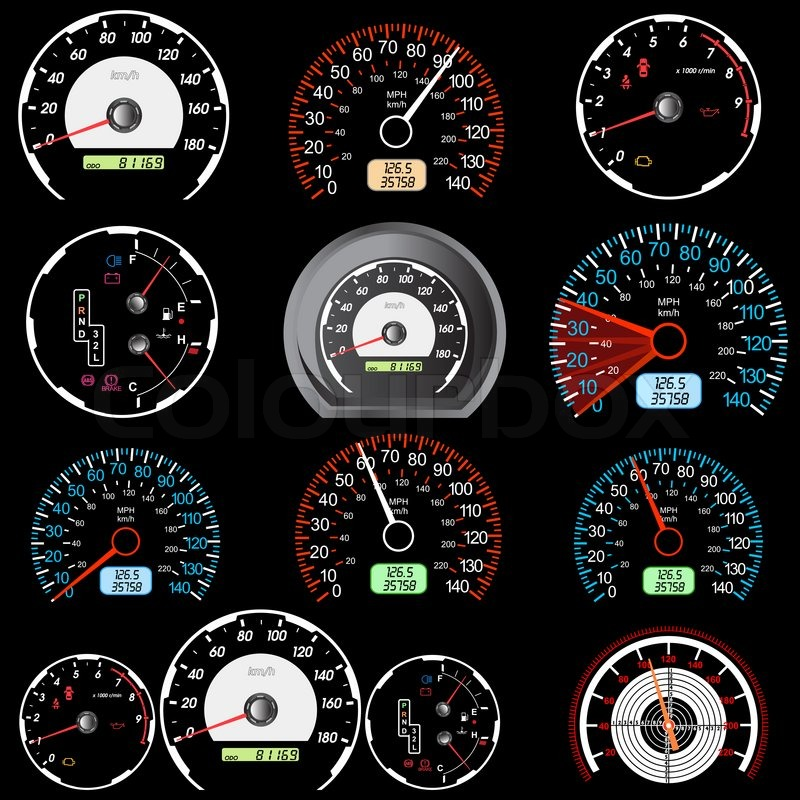 Online Auto Racing on Stock Image Of  Set Of Car Speedometers For Racing Design