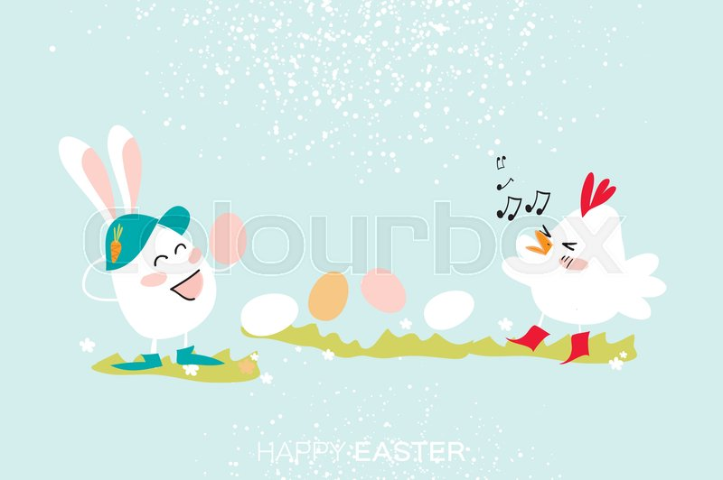 Cute Bunny And Chick Singing Witn Egg Stock Vector Colourbox