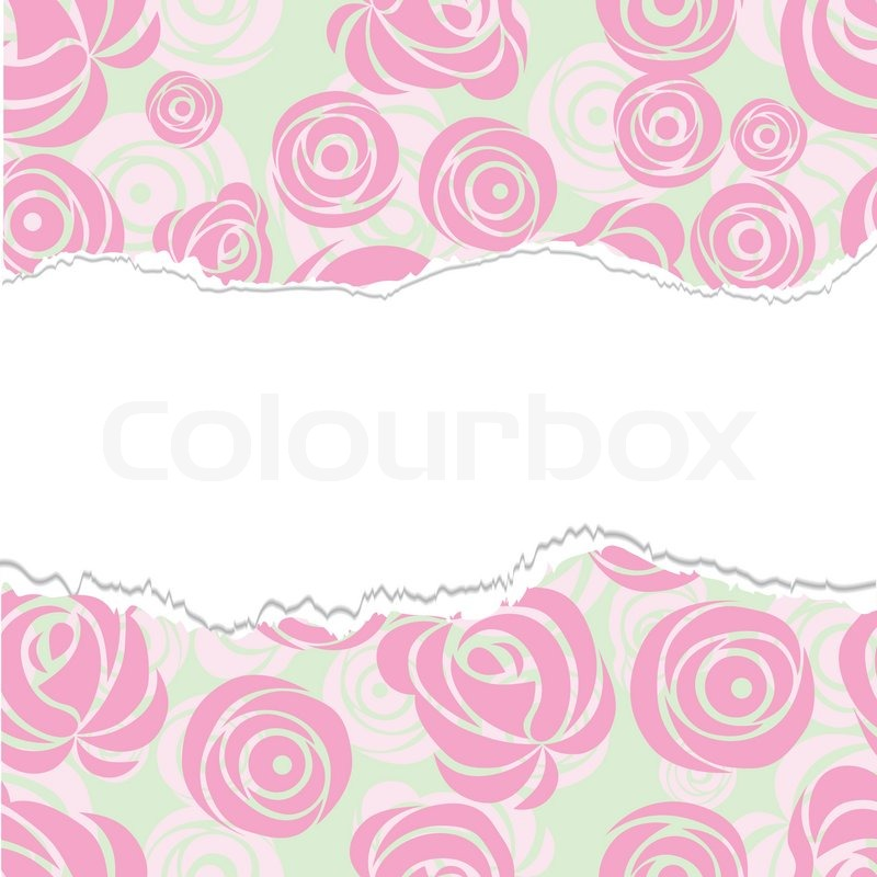 Torn Paper Wrapping Pink Art Vector Rose Pattern Seamless Flower Background Fabric Texture Floral Vintage Design Cute Wallpaper Cartoon Feminine
