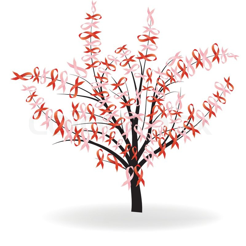 Breast cancer and aids ribbon tree stock vector colourbox for Red ribbon around tree