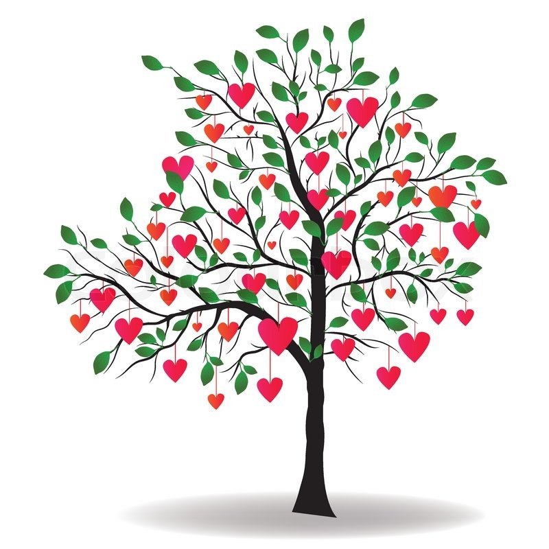 Valentine Day Tree With Leaf Like Heart Vector Illustration Stock