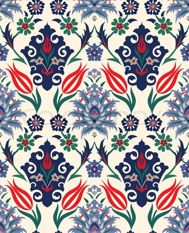 Abstract Retro Seamless Floral Background Paper Textile
