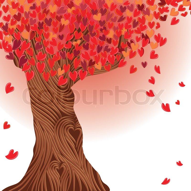 Valentine tree vector, heart Love card Wedding background | Stock ...
